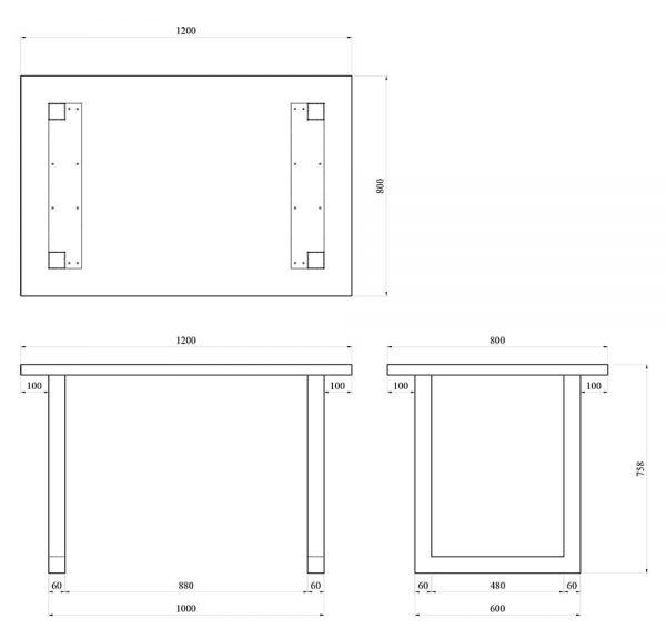 Stół KamMet U Rysunek techniczny